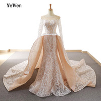 YeWen Dubai Long Sleeves Newest Design Wedding Dresses 2018 Appliques Mermaid Fashion High end Sexy Bridal Gown Real Photo