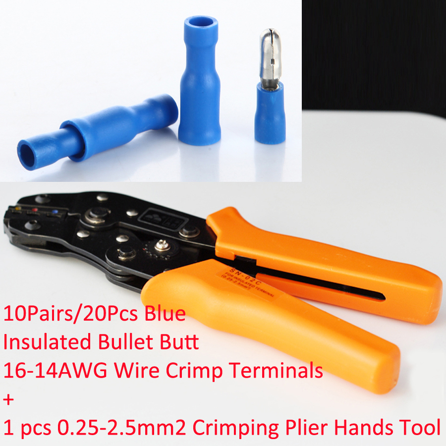 1pcs SN-02C in 0.25-2.5mm2 Crimping Plier Hands Tool with 10Pairs/20Pcs Blue Insulated Bullet Butt 16-14AWG Wire Crimp Terminals pro skit 8pk 313b 5 in 1 wire bolt cutter crimping stripping tool yellow black