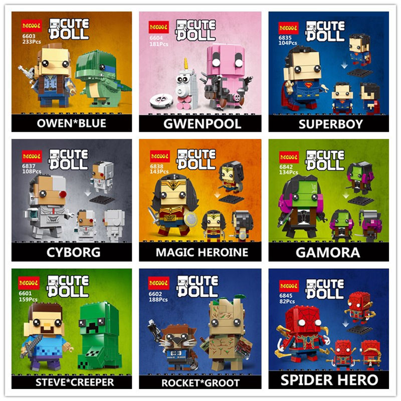 IN STOCK DECOOL CUTE DOLL 6835-6846 6601-6604 18002 Super Heroes Marvel Avengers Spider Figures Building Block Mini Bricks Toys