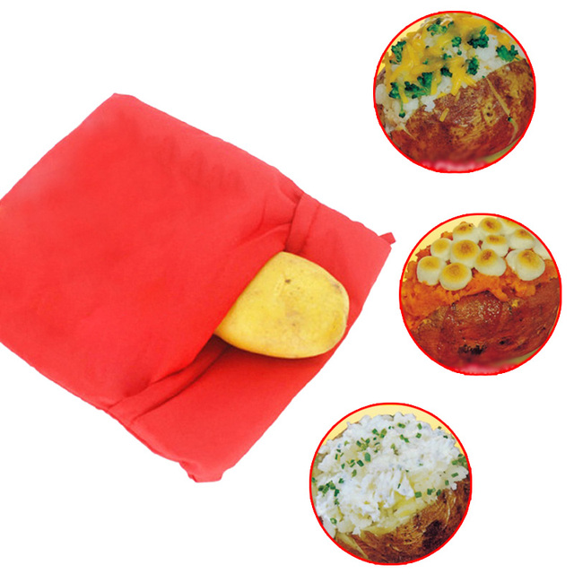 Red Washable Cooker Bag Baked Potato Microwave Cooking Quick Fast
