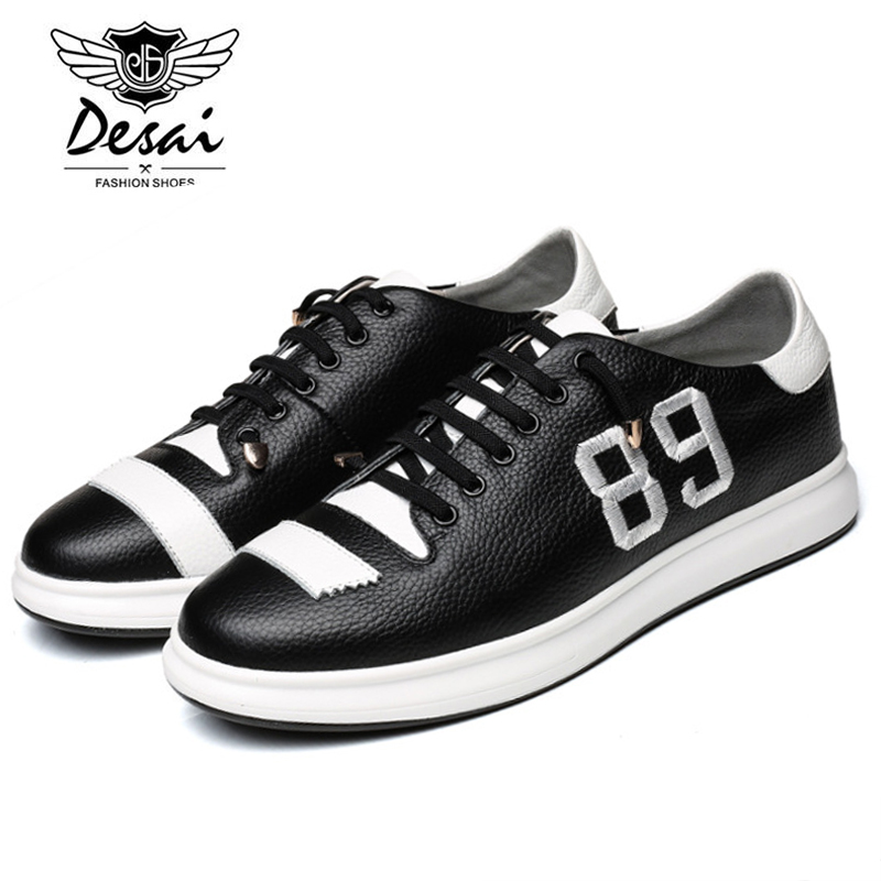 DESAI Brand 2017 New Arrival Autumn Men Casual Shoes Genuine Leather Comfortable Soft Flat Heel Elastic Band Shoes J2589 2016 spring autumn europe china style new tide men canvas casual shoes blue black letters print sewing elastic band flat shoes