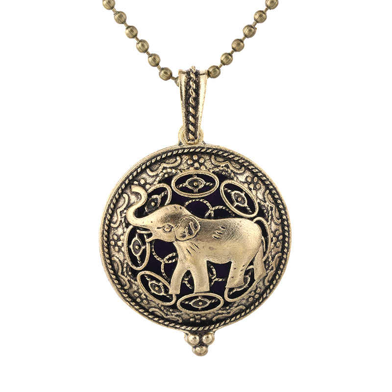New Antique Bronze Elephant Necklace Magnetic Retro Pendant Perfume Essential Oil Diffuser Locket Pendant Aromatherapy Jewelry