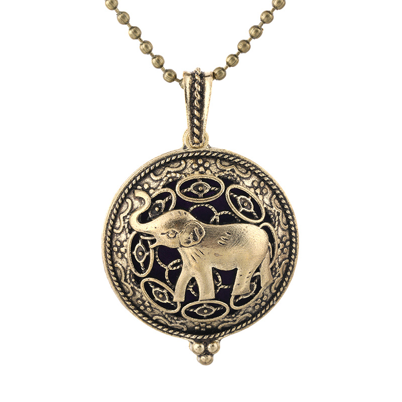 New Antique Bronze Elephant Necklace Magnetic Retro Pendant Perfume Essential Oil Diffuser Locket Aromatherapy Jewelry