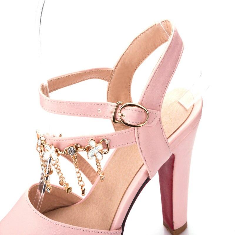 Plate Bouche En Brides blanc À Hauts forme Sandales De Femmes Décoration rose Avec noir Poissons Mode Métal Talons Beige Nouvelle Compensés PwRqxav56