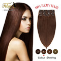 """16""""18""""20""""22"""" Wholesale price Clip In Virgin Remy Human Hair Extensions color #8/613 mix color Free shipping"""