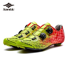 Santic Road Cycling Shoes Men Ultralight Carbon Fiber Soles Pro Racing Team Athletic Bike Shoes Self-Locking Bicycle Shoes
