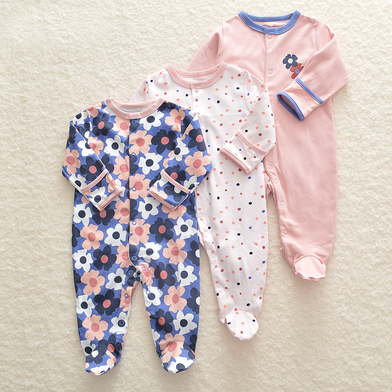 3Pcs/lot Newborn Baby boy   Romper   Set Winter 0-12M Baby girl Jumpsuit Clothes 100% Cotton Infants Warm Clothing High Quality kids
