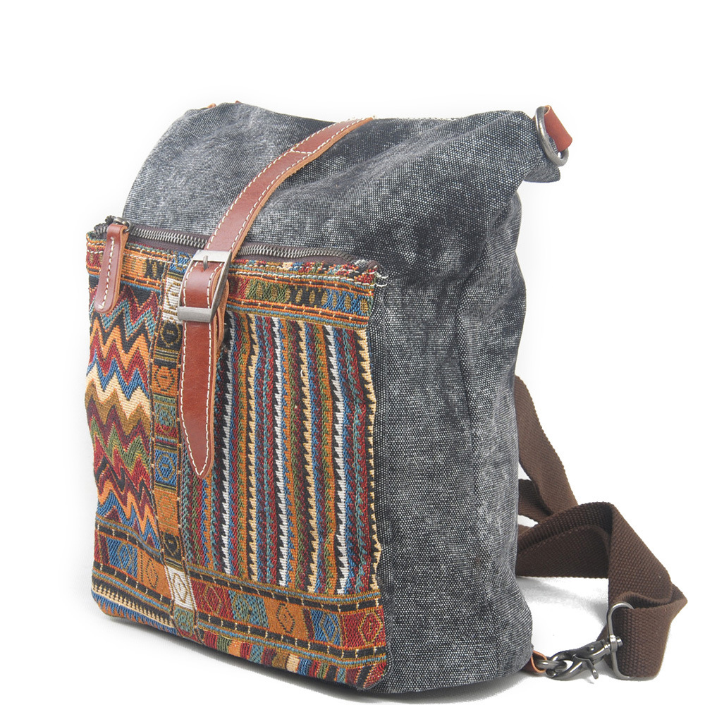 2016 Ethnic Canvas Backpack for Women National Backpacks Leisure Travel Rucksack Embroidery Back Bag Fashion Student School Bag