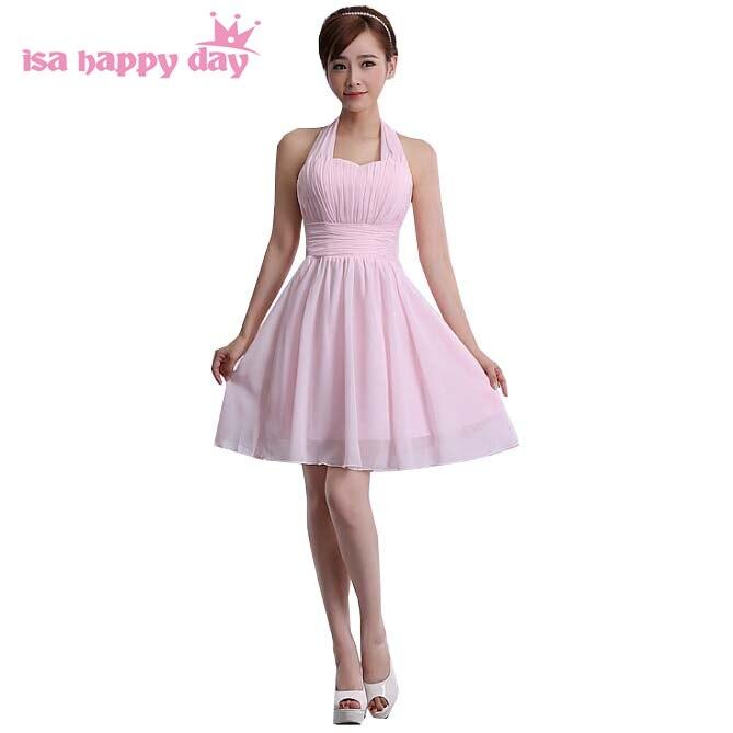 2019 Ultimo Disegno Moda Elegante Light Pink Halter Senza Maniche In Chiffon Abiti Da Sposa Maids Formala Linea Vestito Da Cerimonia Nuziale Di Usura Guest Sotto 50 H1549 Belle Arti