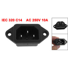 IEC 320 C14 Male Plug 3 Pins PCB Panel Power Inlet Socket Connector