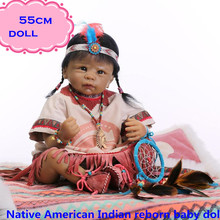 Free Shipping NPK Brand Native American Indian Silicone Reborn Baby Dolls About 22inch/55cm Best Play Doll Brinquedos For Child
