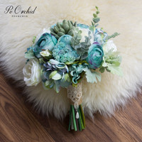 PEORCHID Tiffany Blue White Bridal Bouquets Wedding Flowers Artificial Simulation Succulents Bouquet Bridesmaid Holding Flower