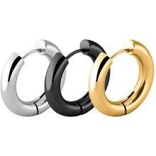 Новые стильные золотые серебряные серьги-гвоздики для женщин и мужчин, большие круглые серьги-гвоздики из нержавеющей стали, модные ювелирные изделия