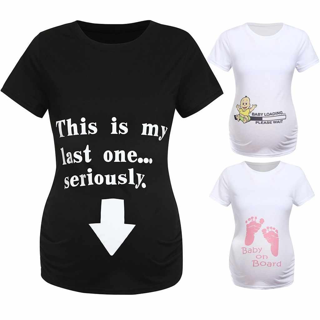 ฤดูร้อนผู้หญิงเสื้อยืด Slim น่ารักพิมพ์คลอดบุตรพยาบาลตลกแขนสั้นการตั้งครรภ์ T เสื้อสำหรับหญิงตั้งครรภ์ Plus ขนาด
