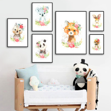 цена на Watercolor Panda Koala Kangaroo Nursery Wall Art Canvas Painting Nordic Posters And Prints Wall Pictures baby Kids Room Decor