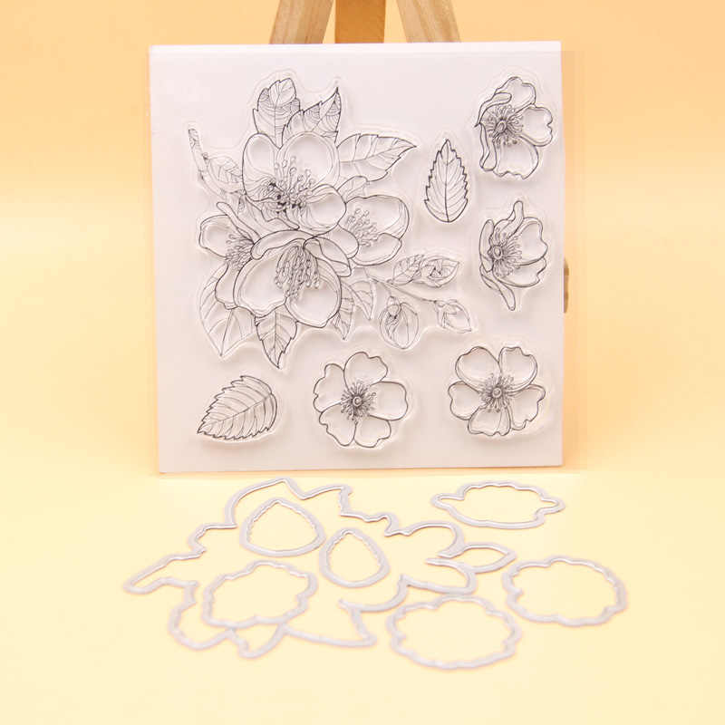 KLJUYP Flowers Transparent Clear Silicone Stamp Cutting Dies Set for DIY scrapbooking/photo album Decorative
