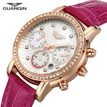 GUANQIN GQ15001lady Chronograph 2017 fashion casual watch women Sapphire Glass waterproof Quartz female watches Hot Pink Leather