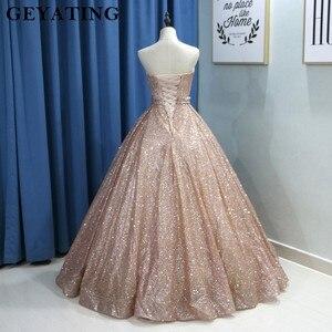 Image 2 - Champagne Glitter Ballkleid Prom Kleider Luxus 2020 Schatz Korsett Bodenlangen Kleider Lange Party Kleid Vestideos de festa