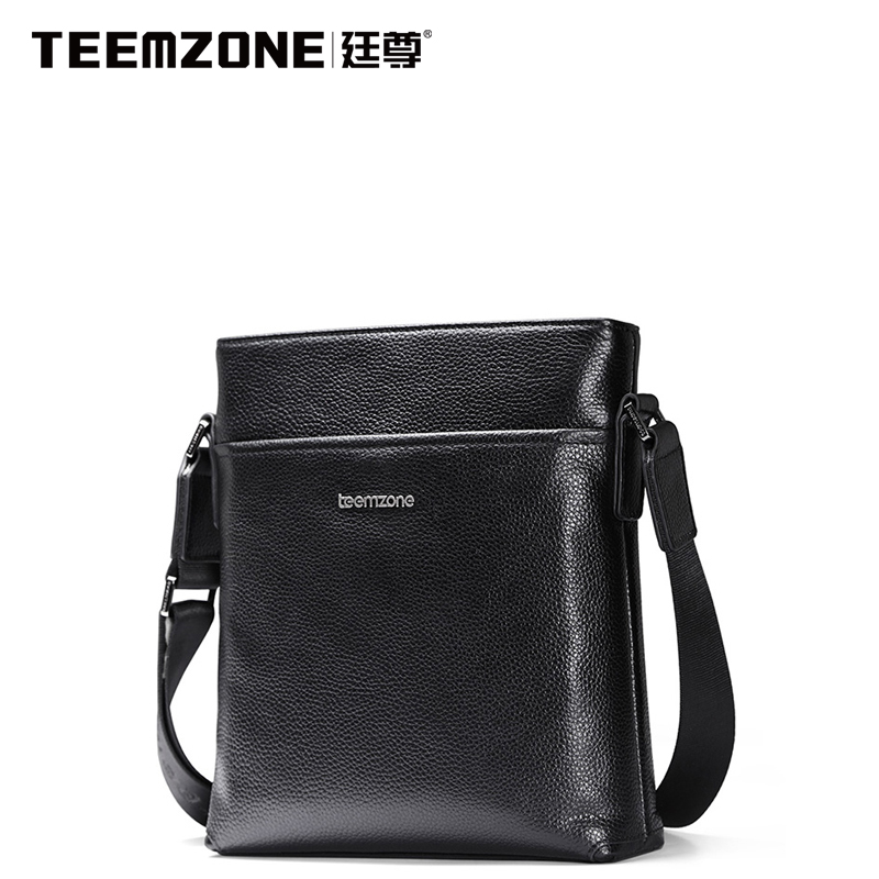 Large Capacity Business Fashion Genuine Leather Black Open Pocket Bags Design Famous Teemzone Brand Men Shoulder Crossbody Bag