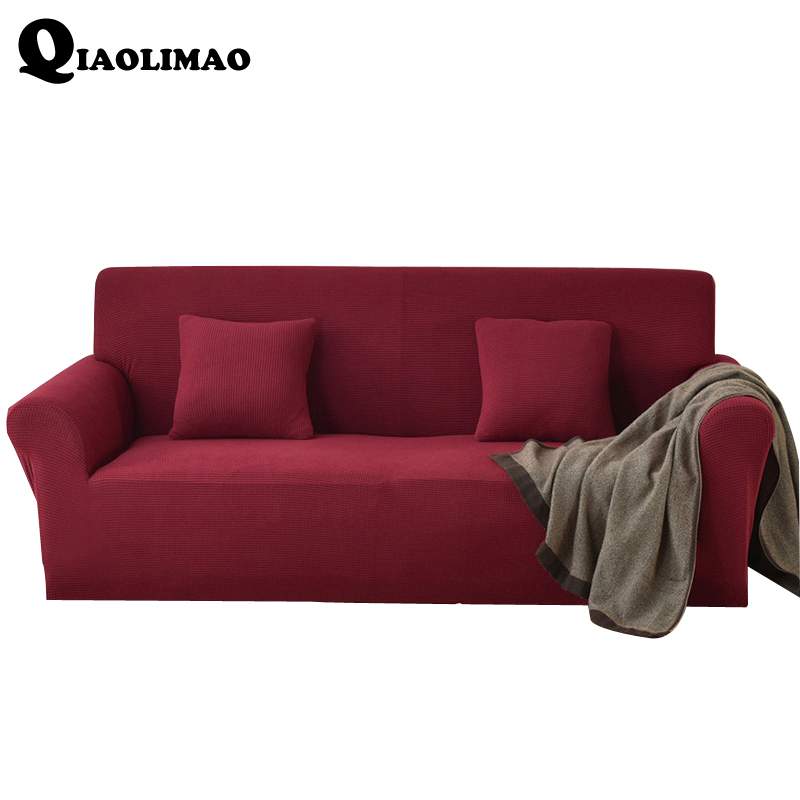 New Sofa Cover Big Elasticity 100% Polyester/Cotton Spandex Stretch Couch Cover Loveseat Sofa Towel Furniture Cover Machine Wash