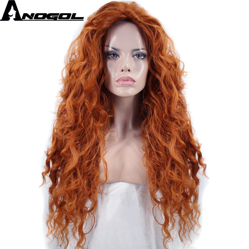 Anogol Free Part Brave Merida Long Orange Deep Wave  High Temperature Fiber Synthetic Hair Princess Cosplay Wigs For Halloween