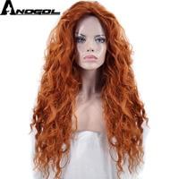 Anogol Free Part Brave Merida Long Orange Deep Wave High Temperature Fiber Synthetic Hair Princess Cosplay Wigs For Halloween