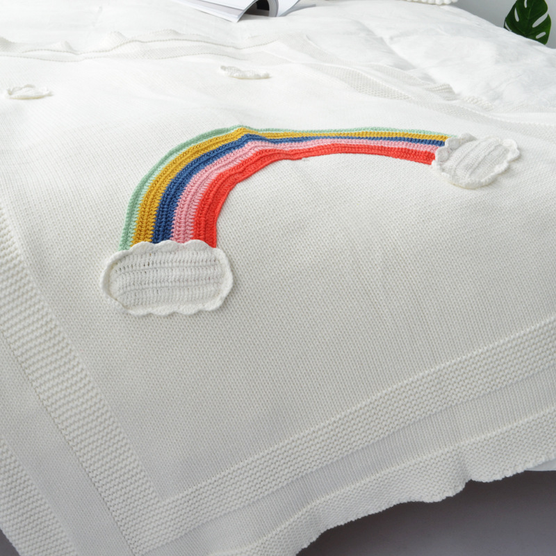 Rainbow Baby Blankets Newborn Cotton Crochet Baby Swaddle Blanket Knitted Kids Blanket Cute Soft Crib Stroller Blanket Children cotton lamb fleece blanket 115 115cm 100% cashmere double face blankets nordic style
