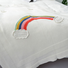 Rainbow Baby Blankets Newborn Cotton Crochet Baby Swaddle Blanket Knitted Kids B