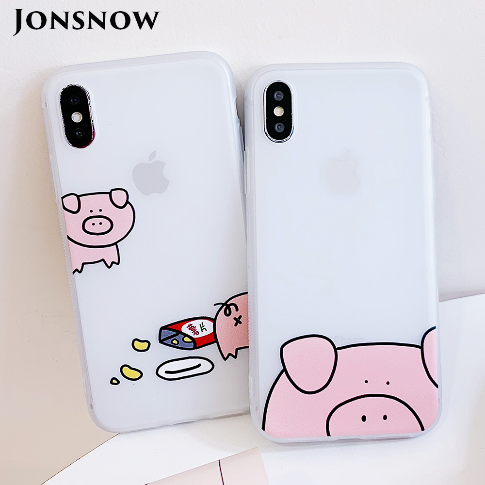 KIPX1100_1_JONSNOW Matte Case For iPhone 7 Plus 8 6 6S 6 Plus X XR XS Max Lovely Pig Baby Pattern Translucent Soft Silicone Cover Cases