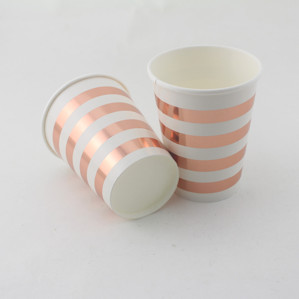 Foil Rose Gold Silver Dot Striped Paper Cups Wedding Birthday Party ...