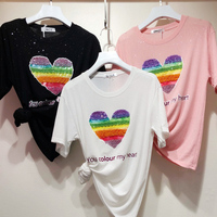 New jacket three dimensional nail beads Color Heart picture T shirt for students with round collar and bright silk T shirt
