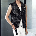 Men's Zipper PU Leather  Vest  Young Man Outerwear Motorcycle Punk Vest  Sleeveless Jacket