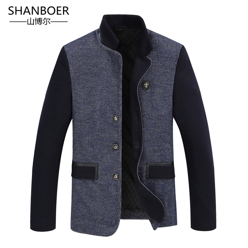 New Men Blazer Fashion Woolen Blends Patchwork Slim Suit Jackets Business Suit Male Wedding Dress Men
