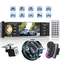 Hippcron 1 Din Car Radio 4.1 inch Audio Stereo Bluetooth USB AUX FM Radio Station with Rear View Camera Remote Control