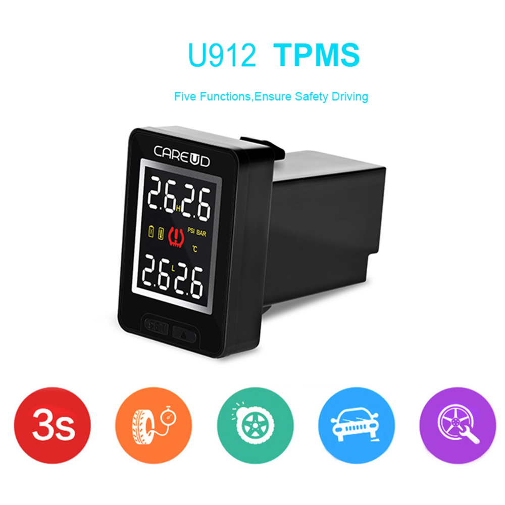 CAREUD U912 TPMS Tire Pressure Monitoring System Wireless Auto Alarm with 4 Internal Sensors for Toyota Tire Pressure Alarm u912 car tpms wireless auto tire pressure monitoring system 4 sensors lcd embedded monitor for toyota honda