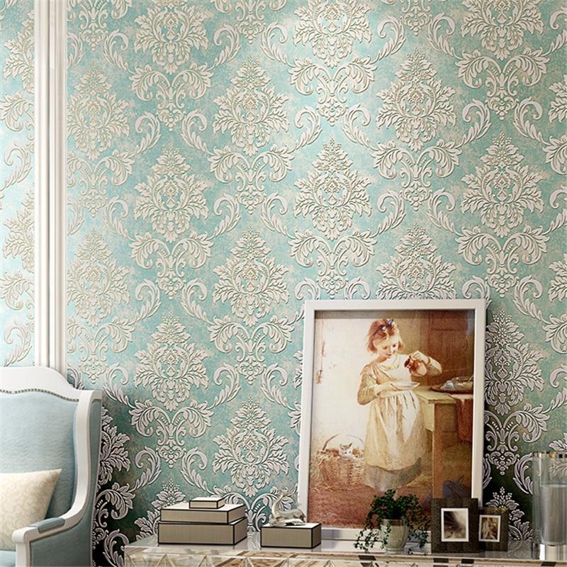 beibehang papel de parede High-grade retro non-woven fabric Continental Damascus wallpaper living room home full of wallpaper
