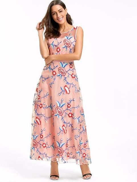 ce44bad63e3 placeholder Luxury Runway Women Floral Embroidery Flower Dress Summer Mesh  Maxi Dress Designer Dresses Long Sexy Dress