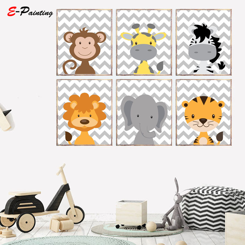 Us 3 75 25 Off Jungle Safari Animal Lovely Tiger Wall Art Printing Posters Baby Boys Canvas Painting Picture Nursery Decor Kid Bedroom In