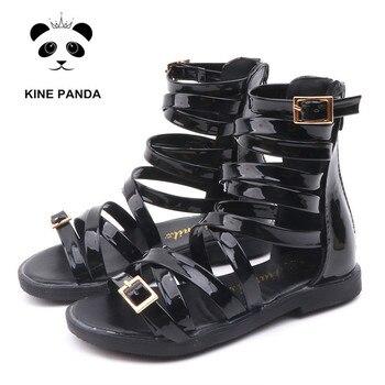 0f409a6e2d KINE PANDA niñas sandalias gladiador verano romano botas alto-top niños  Zapatos sandalias blanco negro