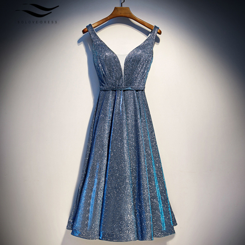 Luxury Silver Blue Long Sequin Evening Dress V Neck Cheap Evening Gowns Sleeveless Prom Party Formal Dresses Wear  Sashes