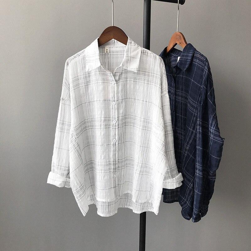 Fashion Women Linen Lattice Shirts Single Breasted Plaid Cotton Shirt Wild Casual Streetwear Shirt Women Plus Size Blouse 5563 ...