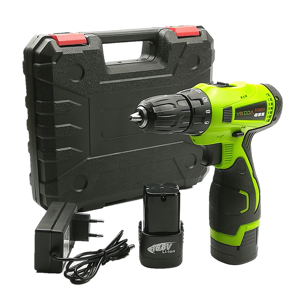 YIKODA 16.8V Electric Screwdriver Rechargeable Lithium Battery Household Cordless Driver Drill Multi-function DIY Power Tools