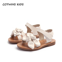 CCTWINS KIDS 2018 Summer Baby Butterfly Pu Leather Barefoot Sandal Girl Fashion Beach Shoe Toddler White