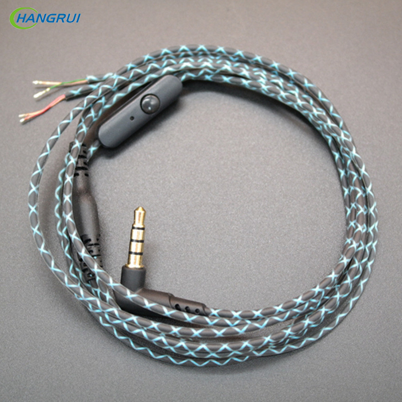 Hangrui 3.5mm DIY Earphone Audio Cable with Mic L Bend Plug Serpentine line Wired Control Headphone wire Replacement accessories
