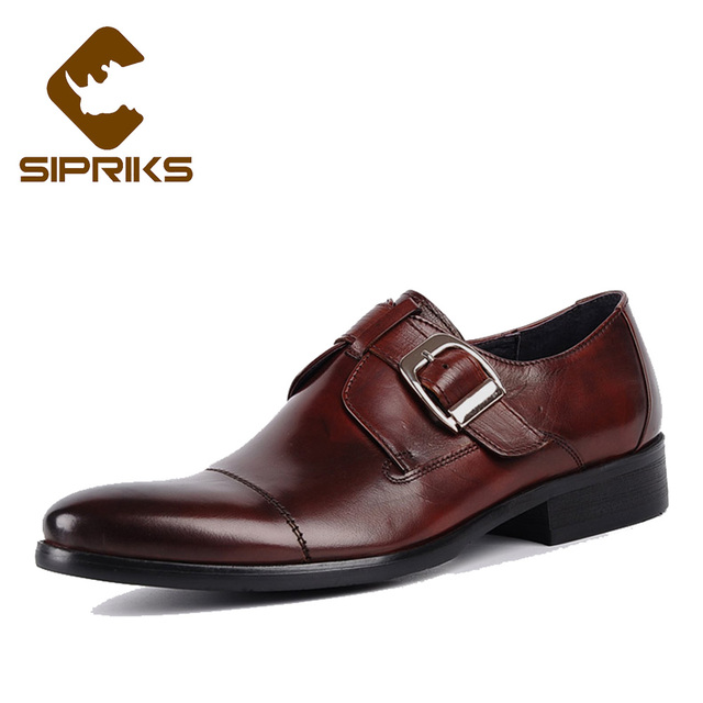 c14b8dac6abb Sipriks mens single monk strap classic genuine leather dress shoes mens church  shoes with cap toe elegant boss social shoes new