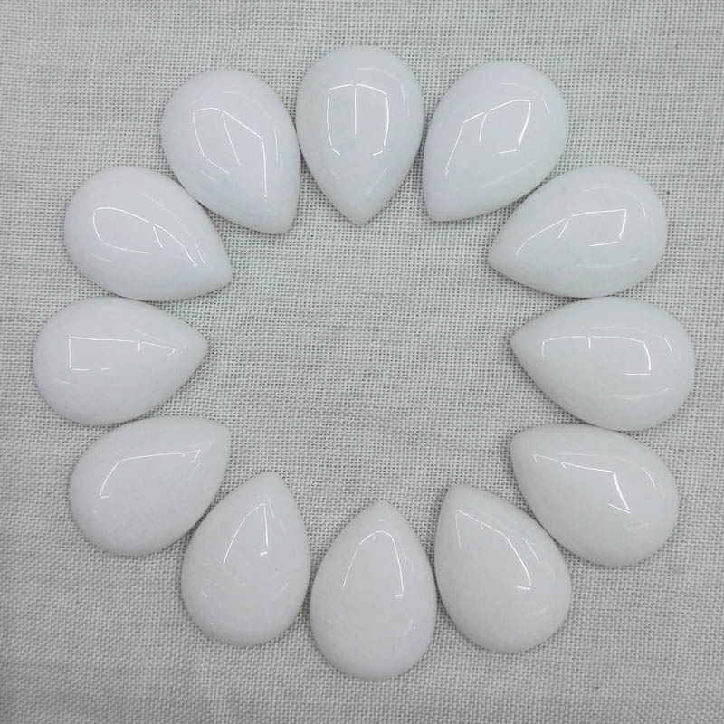 Wholesale 13x18mm white bowlder teardrop beads natural stone CAB CABOCHON 50pcs for DIY jewelry accessories Free shipping