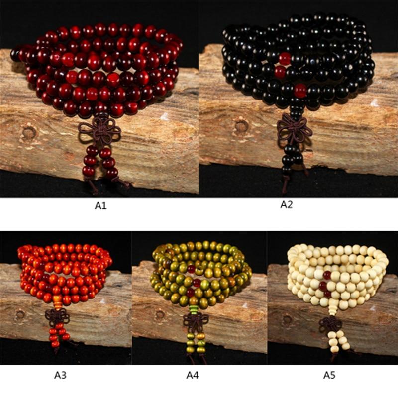Natural Sandalwood Bracelet Men Buddhist Buddha Meditation Bead Bracelet For Women Prayer 108 Beads Rosary Hanging Decoration