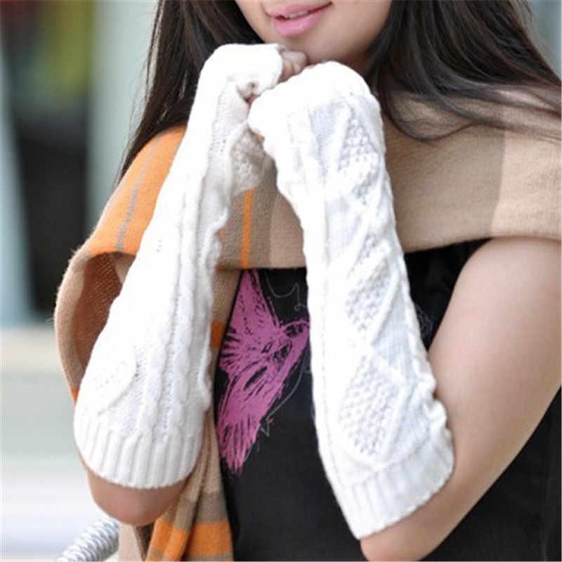 뜨거운 스타일 사랑스러운 따뜻한 이슬 손가락 아가일 슬리브 겨울 긴 스타일 팔 슬리브 뜨개질 양모 반 손가락 장갑 액세서리