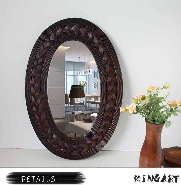 Vintage Big Wall Mirror Retro Bamboo 7 Wood Frame Oval Wall Mirror Large Living Room Mural Hanging Wall Mirror Big With Frame Aliexpress