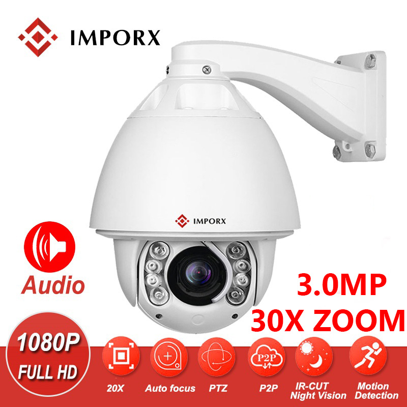 IMPORX 3.0MP 30X Digital Zoom Auto Tracking Outdoor PTZ IP Camera Speed Dome Surveillance Waterproof Security CCTV